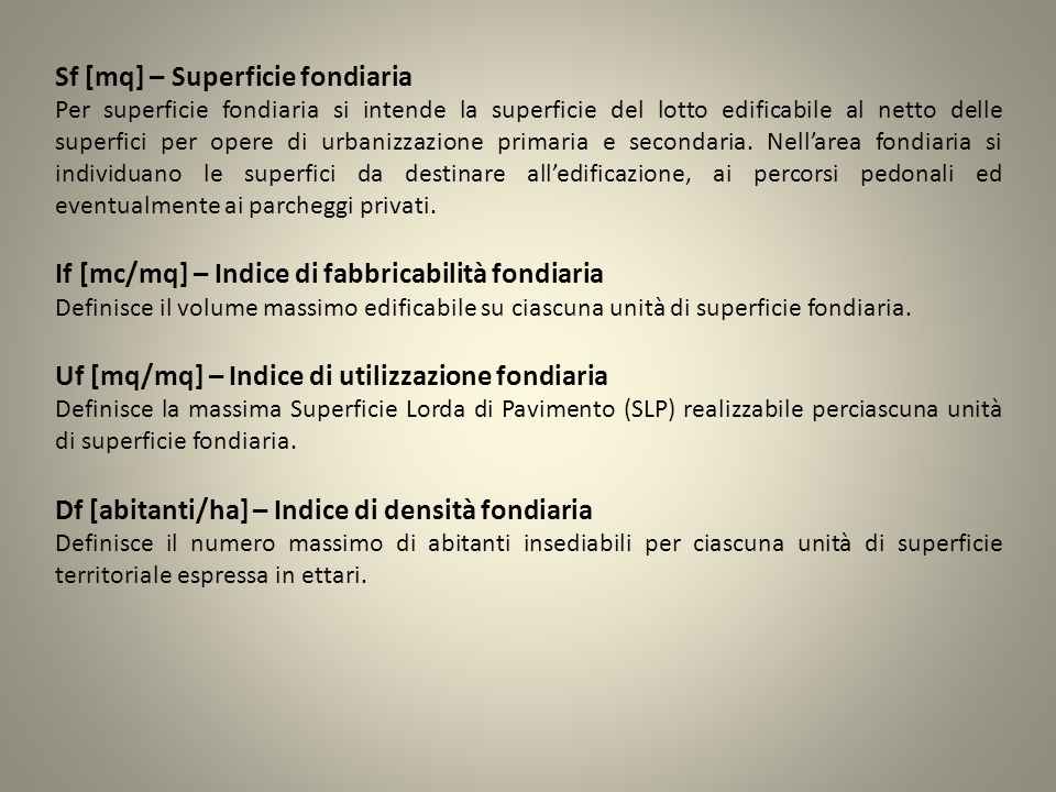 Sf [mq] – Superficie fondiaria